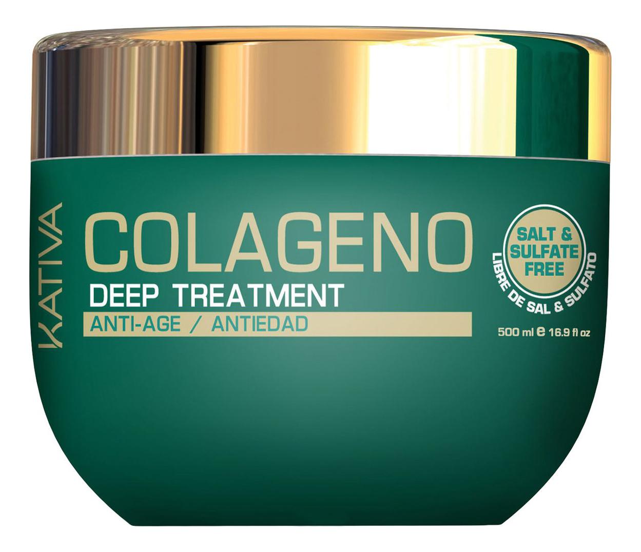 Интенсивный коллагеновый уход для волос Colageno Anti-Age Deep Treatment 500мл: Уход для волос 500мл шампунь коллагеновый kativa