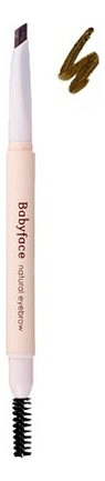 Карандаш для бровей с кисточкой Babyface Natural Eyebrow 0,3г: 03 Yellow Brown