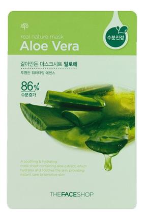 Тканевая маска для лица с экстрактом алоэ Real Nature Mask Aloe Vera 20г the face shop jeju volcanic lava aloe nose strip объем 7 шт
