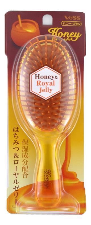 Щетка массажная для увлажнения и придания блеска волосам с медом и маточным молочком Honey Royal Jelly (круглая) vess щетка массажная для увлажнения и придания блеска волосам с мёдом и маточным молочком пчел 721113