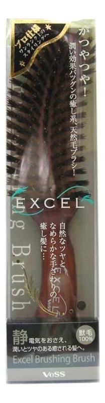 Щетка для волос с натуральной щетиной и нейлоном Excel Mix Brushing Brush: Щетка с изогнутой ручкой щетка для укладки волос с натуральной щетиной и нейлоном excel mix roll brush круглая