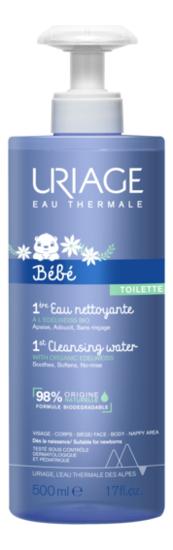 Первая очищающая вода для детей и новорожденных Bebe Bebe 1er Eau Nettoyante: Вода 500мл урьяж мицеллярная вода очищающая для кожи склонной к покраснению 250 мл uriage гигиена uriage