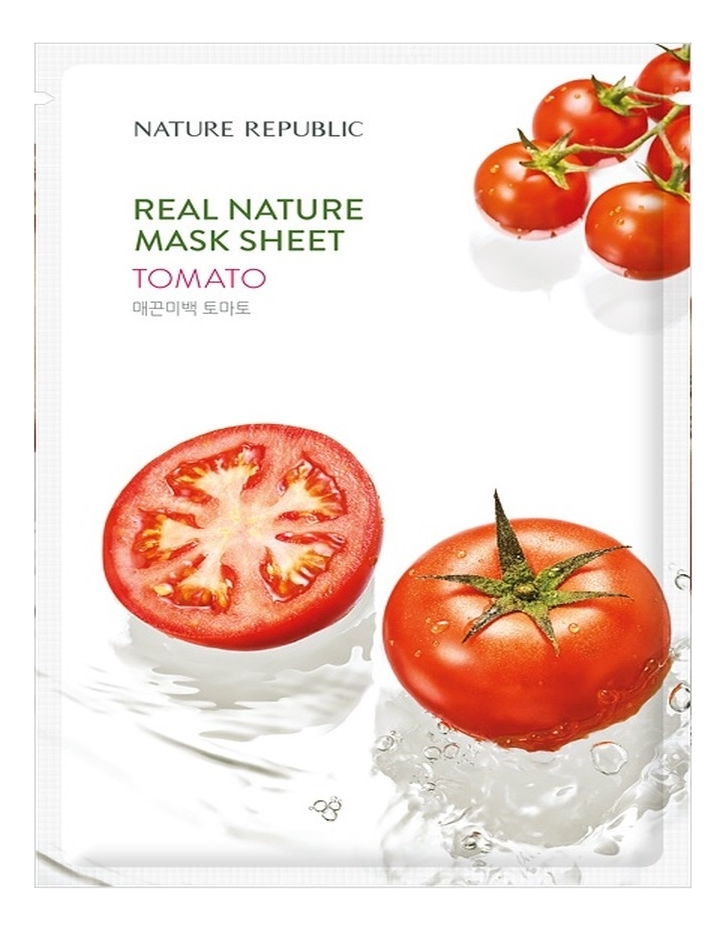 Тканевая маска для лица с экстрактом томата Real Nature Mask Sheet Tomato 23мл маска для лица листовая nature republic real nature royal jelly mask sheet 23 г