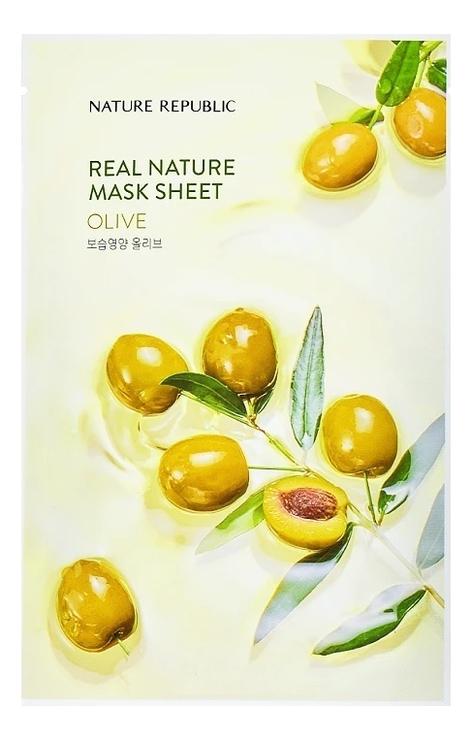 Тканевая маска для лица c маслом оливы Real Nature Mask Sheet Olive 23г маска для лица листовая nature republic real nature royal jelly mask sheet 23 г