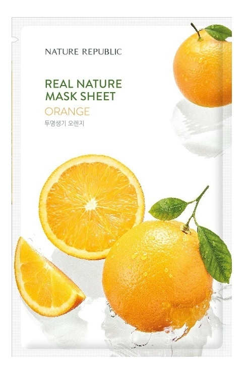 Тканевая маска для лица с экстрактом апельсина Real Nature Mask Sheet Orange 23мл маска для лица листовая nature republic real nature royal jelly mask sheet 23 г