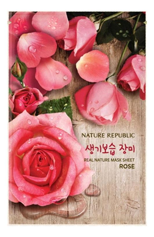 Тканевая маска для лица с экстрактом розы Real Nature Rose Mask Sheet 23мл маска для лица листовая nature republic real nature royal jelly mask sheet 23 г