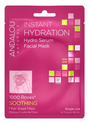 Маска-сыворотка для лица увлажняющая Soothing Instant Hydration Hydro Serum Facial Mask 1000 Roses: Маска 18мл