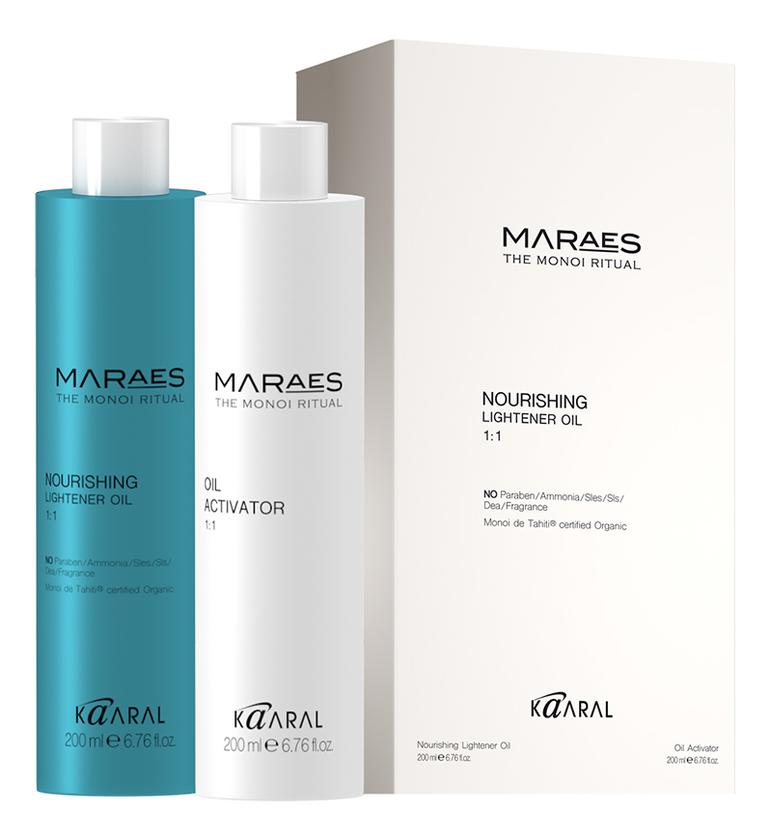 Осветляющее и увлажняющее масло для волос с моной де Таити Maraes Nourishing Lightener Oil 2*200мл kaaral maraes color nourishing olium масло 30 мл