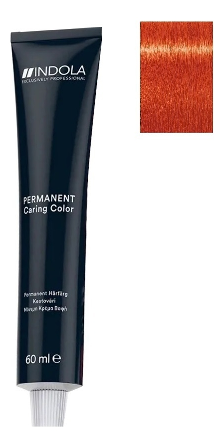 Стойкая крем-краска для волос Permanent Caring Color 60мл: 9.44 Очень светлый блондин интенсивно-медный крем краска для волос indola color red