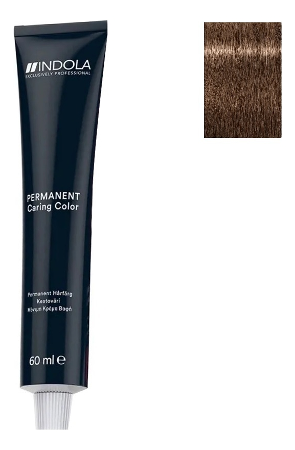 Стойкая крем-краска для волос Permanent Caring Color 60мл: 7.38 Средний русый золотистый шоколадный крем краска для волос indola color red