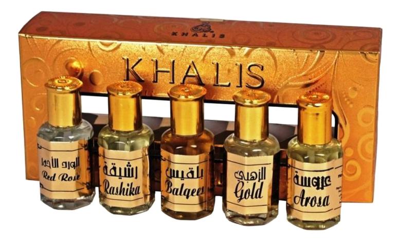 Khalis Gold Set: масляные духи 5*12мл (Gold + Balqees Arosa Rashika Red Rose)