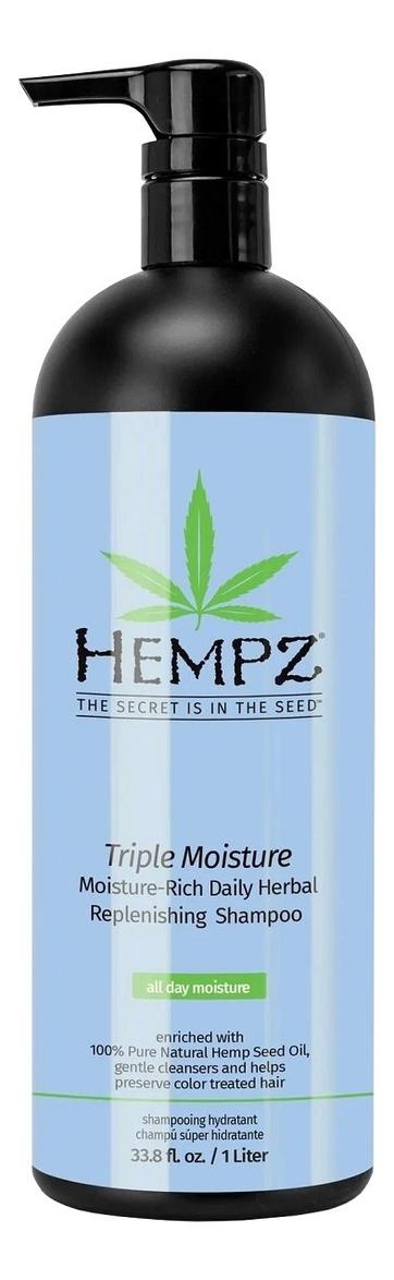 Шампунь для волос Тройное увлажнение Triple Moisture Replenishing Shampoo: Шампунь 1000мл hempz шампунь тройное увлажнение 265 мл