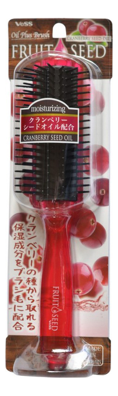 Щетка массажная для волос с маслом семян клюквы Cranberry Seed Oil Blowing Comb (большая) vess щетка массажная для волос с маслом семян клюквы круглая
