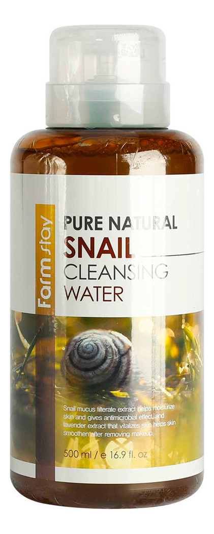 Очищающая вода для лица с муцина улитки Pure Natural Cleansing Water Snail 500мл farmstay очищающая вода с витаминами pure natural dr v 8 vitamin cleansing water 500 мл