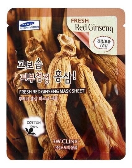 Тканевая маска для лица с экстрактом красного женьшеня Fresh Red Ginseng Mask Sheet: Маска 23г