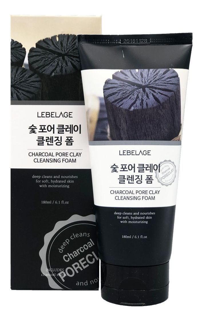 Пенка для умывания с древесным углем Charcoal Pore Clay Cleansing Foam 180мл mediface pore bath charcoal mask