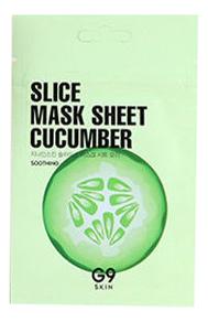 Маска-слайс для лица тканевая успокаивающая G9 Skin Slice Mask Sheet Cucumber 10мл (огурец)