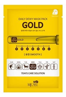 Маска тканевая для лица c золотом MJ Care Daily Dewy Mask Pack Gold Smooth 25г маска тканевая для лица c коллагеном mijin cosmetics mj care daily dew mask pack collagen 25 г