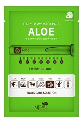Маска тканевая c экстрактом алоэ вера MJ Care Daily Dewy Mask Pack Aloe Moisture 25г маска тканевая для лица c коллагеном mijin cosmetics mj care daily dew mask pack collagen 25 г