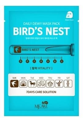 Маска тканевая c экстрактом ласточкиного гнезда MJ Care Daily Dewy Mask Pack Bird's Nest 25г маска тканевая для лица c коллагеном mijin cosmetics mj care daily dew mask pack collagen 25 г