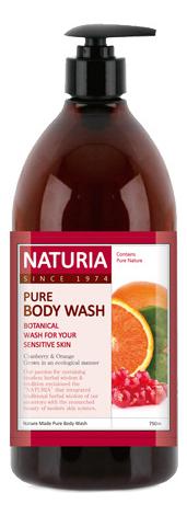Гель для душа Клюква и апельсин Naturia Pure Body Wash Cranberry & Orange 750мл: Гель 750мл