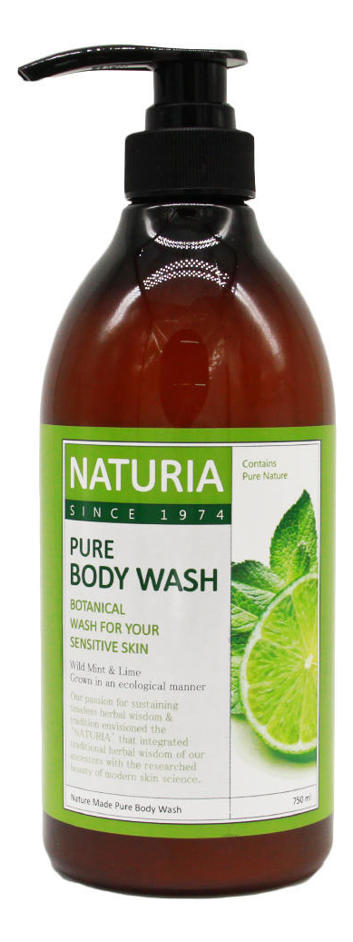 Гель для душа Мята и лайм Naturia Pure Body Wash Wild Mint & Lime 750мл: Гель 750мл