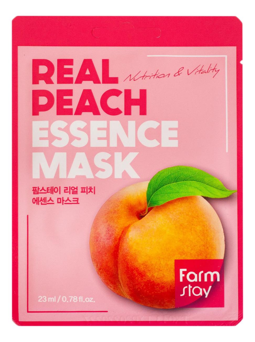 Тканевая маска для лица с экстрактом персика Real Peach Essence Mask 23мл: Маска 1шт farmstay тканевая маска для лица с экстрактом персика real peach essence mask 23 мл