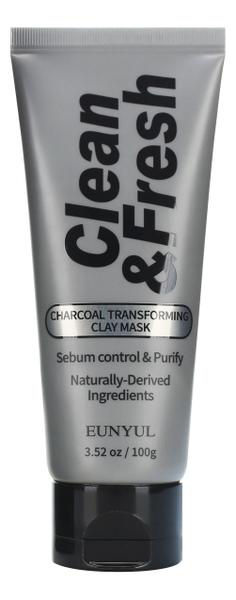 Глиняная маска-трансформер для лица с древесным углем Clean & Fresh Charcoal Transforming Clay Mask 100г laneige mini pore маска глиняная увлажняющая для сужения пор mini pore маска глиняная увлажняющая для сужения пор