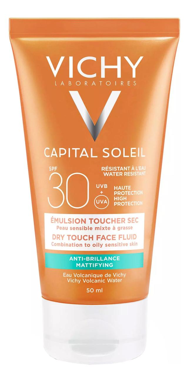 Матирующая эмульсия для лица Capital Ideal Soleil SPF30 50мл матирующая эмульсия для лица драй тач spf 30 50 мл термальная вода 50 мл vichy ideal soleil