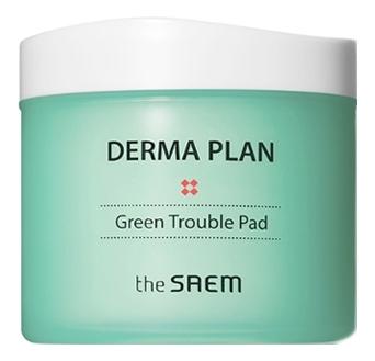 Пэды очищающие для лица Derma Plan Green Trouble Pad 70шт крем для лица успокаивающий the saem derma plan green calming cream 70 мл