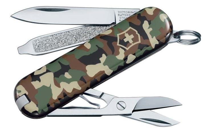 Нож-брелок Classic SD Camouflage 58мм, 7 функций 0.6223.94 (зеленый камуфляж) нож брелок victorinox classic sd 58 мм 7 функций жёлтый 1099874