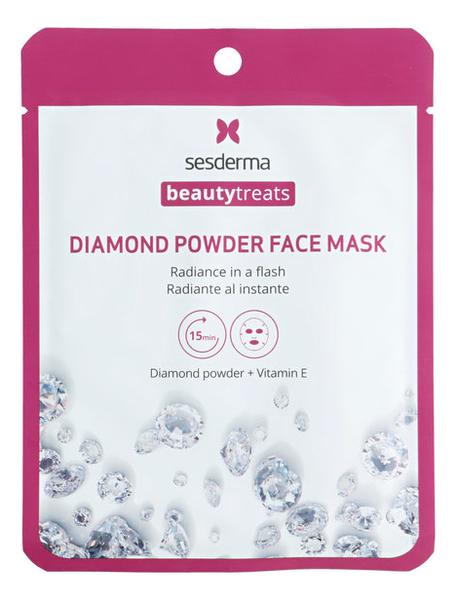 Тканевая маска для сияния кожи лица с алмазной пудрой Beauty Treats Diamond Powder Face Mask 22мл