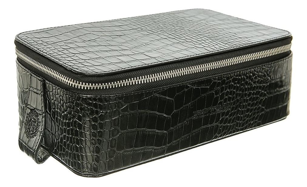 Прямоугольная косметичка на молнии Regency Box Bag Black Crocodile