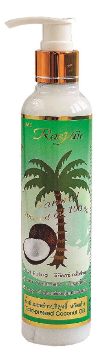 Фото - Кокосовое масло для волос и тела Rasyan Natural Coconut Oil 100%: Масло 200мл (с дозатором) масло для тела и волос кокосовое mirrolla 100 мл