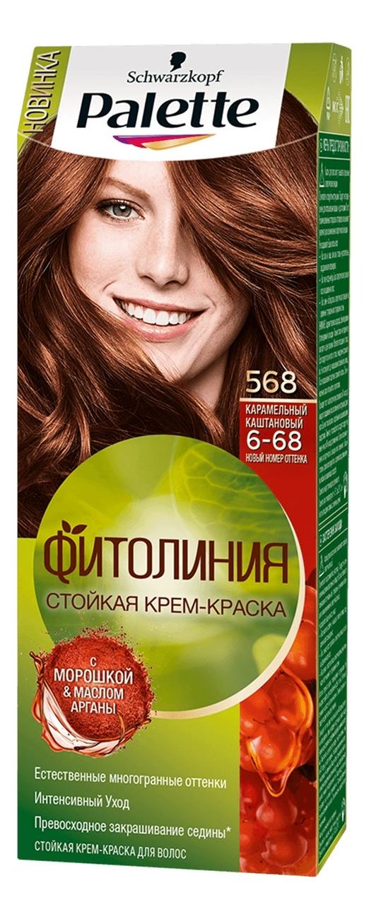 Стойкая крем-краска для волос с маслом арганы Фитолиния 110мл: 568 (6-68) Карамельный каштановый palette краска д волос perfect mousse 607 бронзовый светло каштановый