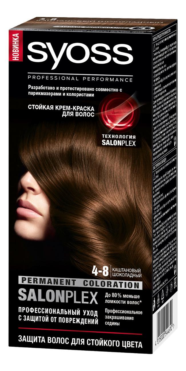 Стойкая крем-краска для волос Color Salon Plex 115мл: 4-8 Каштановый шоколадный