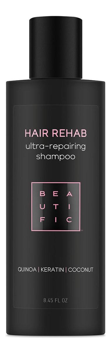 Шампунь для поврежденных волос с киноа, кератином и кокосовым маслом Hair Rehab 250мл beautific шампунь megawatt для