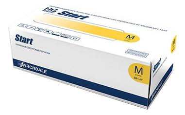 АРДЕЙЛ Перчатки латексные неопудренные с полимерным покрытием NG Start Poly 50 пар (желтые): Размер M