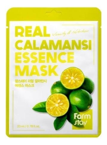 Тканевая маска для лица с экстрактом каламанси Real Calamansi Essence Mask 23мл: Маска 1шт farmstay тканевая маска для лица с экстрактом персика real peach essence mask 23 мл