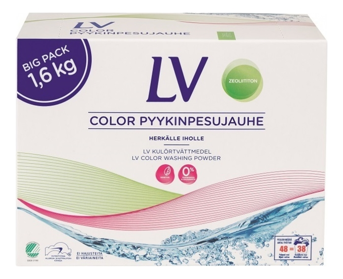 Концентрированный стиральный порошок для цветного белья Color Pyykinpesujauhe: Порошок 1600г порошок стир lv color 1 6кг концентрат