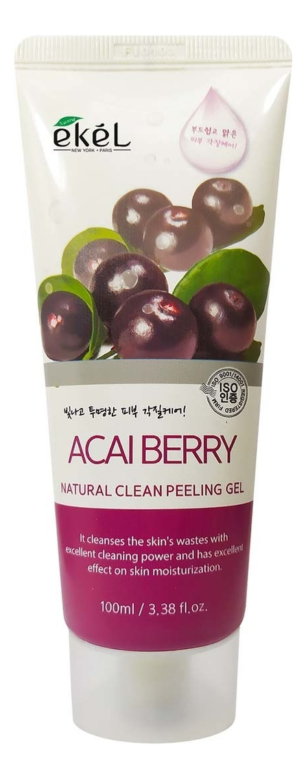 Пилинг-скатка для лица с экстрактом ягод асаи Acai Berry Natural Clean Peeling Gel 100мл: Пилинг-скатка 100мл пилинг скатка для ног bioaqua