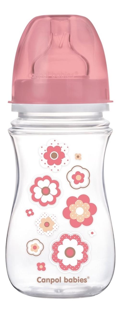 Бутылочка с широким горлышком антиколиковая PP EasyStart 3+ 240мл: Newborn Baby (розовая)