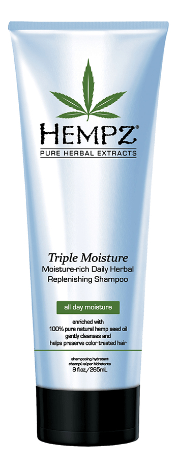 Шампунь тройное увлажнение Triple Moisture Replenishing Shampoo 265мл: Шампунь 265мл hempz шампунь тройное увлажнение 265 мл