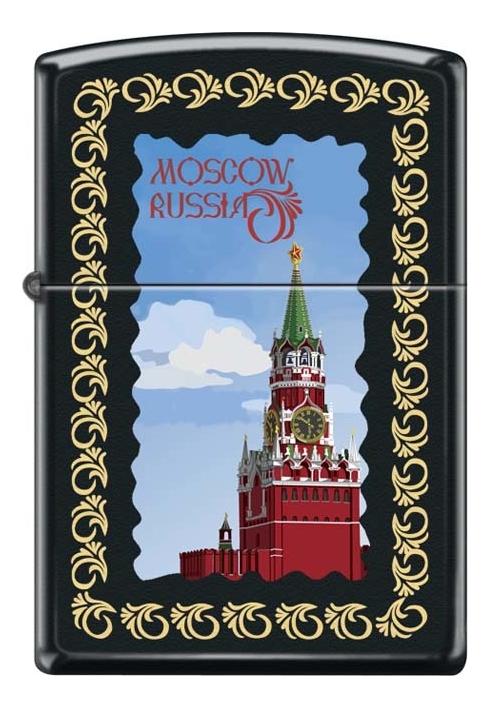 Зажигалка бензиновая Московский кремль (черная, матовая) значок московский кремль металл эмаль ссср 1970 е гг