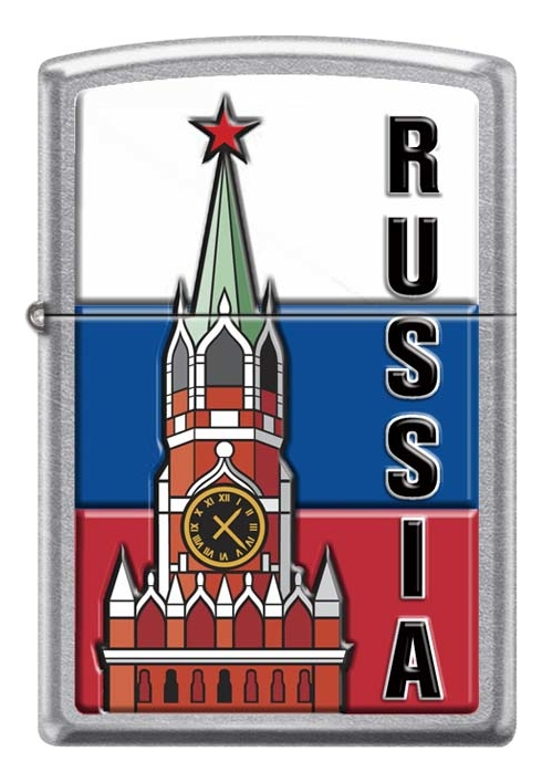 Зажигалка бензиновая Московский кремль (серебристая, матовая) значок московский кремль металл эмаль ссср 1970 е гг