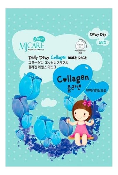 Маска тканевая с коллагеном MJ Care Daily Dewy Сollagen Mask Pack 25г маска тканевая для лица c коллагеном mijin cosmetics mj care daily dew mask pack collagen 25 г