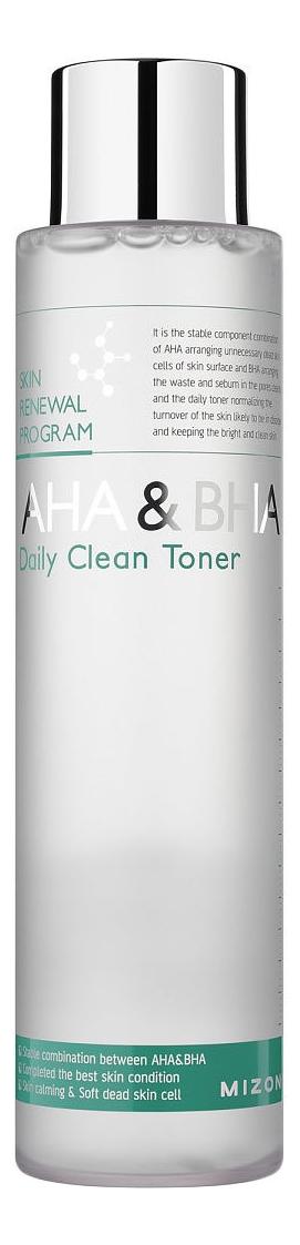 Тоник-пилинг с фруктовыми кислотами AHA & BHA Daily Clean Toner 150мл aravia тоник с фруктовыми кислотами