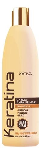 Укрепляющий крем для укладки волос с кератином Keratina Crema Para Peinar 250мл kativa кератиновый укрепляющий шампунь для всех типов волоc keratina 500 мл