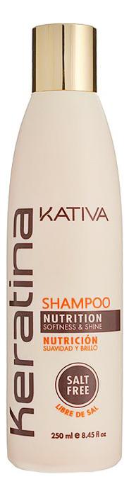 Укрепляющий шампунь с кератином для всех типов волос Keratina Nutrition Shampoo: Шампунь 250мл бальзам кондиционер для волос kativa keratina 500 мл укрепляющий с кератином