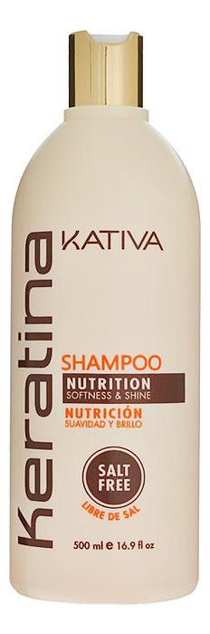 Укрепляющий шампунь с кератином для всех типов волос Keratina Nutrition Shampoo: Шампунь 500мл kativa кератиновый укрепляющий шампунь для всех типов волоc keratina 500 мл